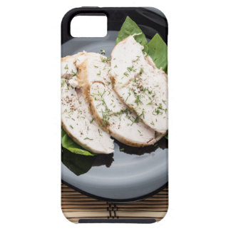 Top view with baked slices of chicken meat iPhone 5 cover