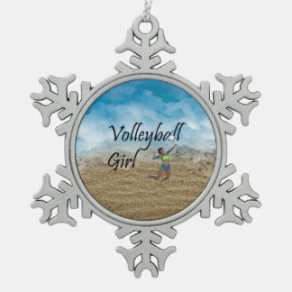 TOP Volleyball Girl Snowflake Pewter Christmas Ornament