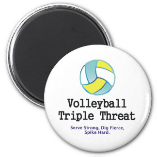 TOP Volleyball Triple Threat 2 Inch Round Magnet