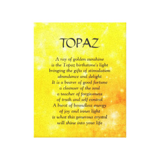 Topaz birthstone - November poem art canvas