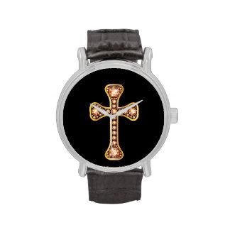 """Topaz"" Christian Cross in Gold Watch"