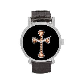 """""""Topaz"""" Christian Cross in Silver Watch"""