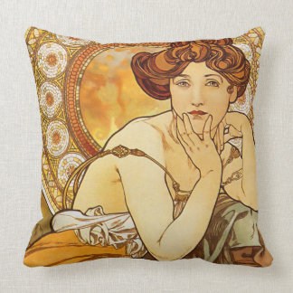Topaz Gems Series, Alphonse Mucha Art Nouveau Throw Pillow