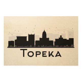 Topeka, Kansas | Black & White City Skyline Wood Wall Art