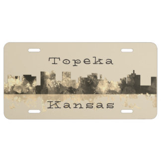 Topeka, Kansas Skyline - B & W License Plate
