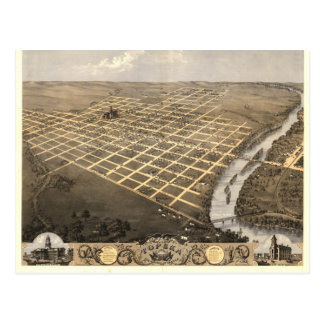 Topeka KS, 1869 Antique Panoramic Map Postcard
