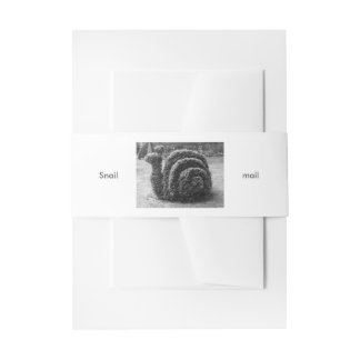 Topiary black and white garden snail invitation belly band