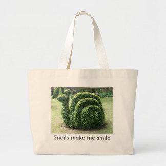 Topiary garden snail fun green large tote bag