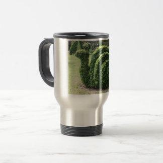 Topiary garden snail green ornamental bush travel mug