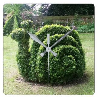 Topiary garden snail unique green square wall clock