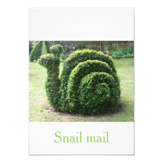 Topiary green garden snail mail unique quirky card