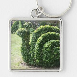 Topiary ornamental bush garden snail Silver-Colored square keychain