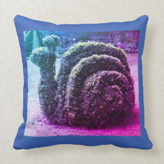 Topiary ornamental garden snail blue smart quirky throw pillow