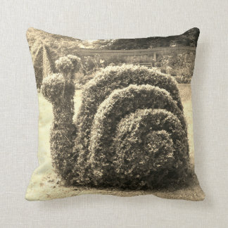Topiary sepia snail garden bush throw pillow
