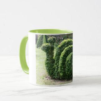 Topiary snail green garden ornamental bush mug