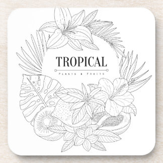 Topical Fruits And Plants Logo Coaster