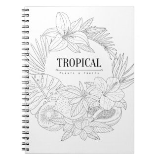 Topical Fruits And Plants Logo Notebook