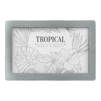 Topical Fruits And Plants Logo Rectangular Belt Buckle