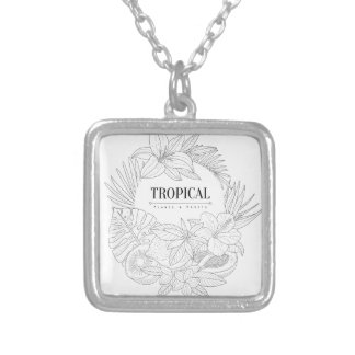 Topical Fruits And Plants Logo Silver Plated Necklace