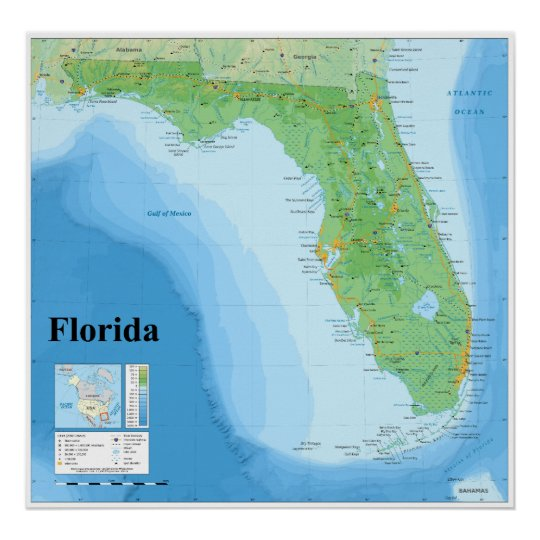 Topographic Map Of Florida.Topographic Map Of The American State Of Florida Poster Zazzle Ca