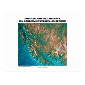 Topographic Radar Image San Gabriel Mtns, CA Postcard