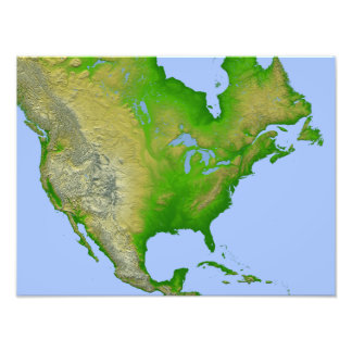 Topographic view of North America Photo Print
