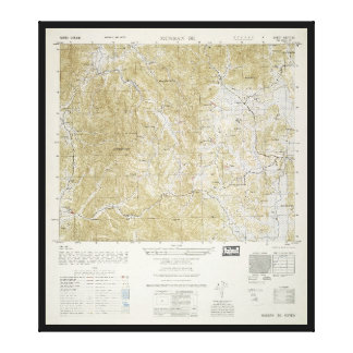 Topographical Map of North and South Korea (1952) Canvas Print