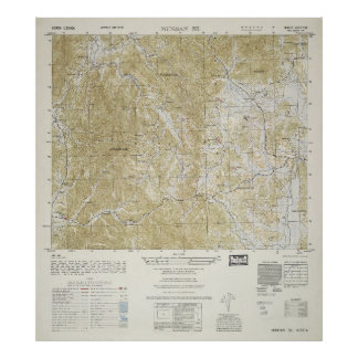 Topographical Map of North and South Korea (1952) Poster