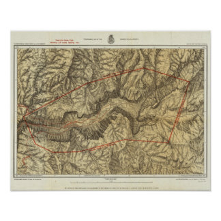 Topographical Map of The Yosemite Valley Poster