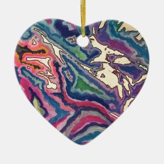 Topographical Tissue Paper Art I Ceramic Ornament