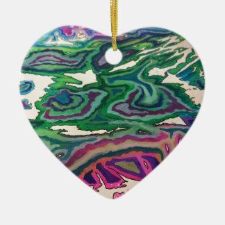Topographical Tissue Paper Art II Ceramic Ornament