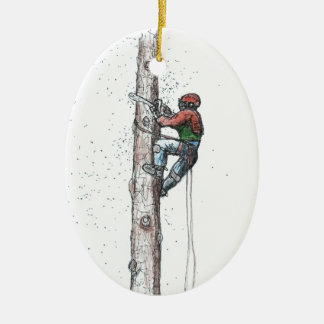 Topping out Arborist Tree Surgeon Stihl Ceramic Ornament