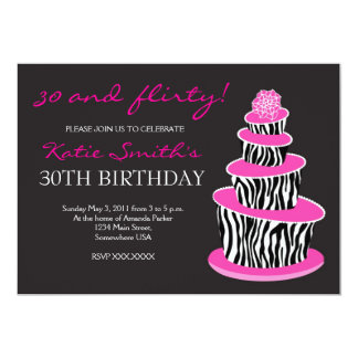 Topsy Turvy Zebra Cake Birthday invitation