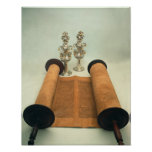 Torah scroll with Silver Crown finials Poster