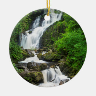 Torc waterfall scenic, Ireland Round Ceramic Ornament