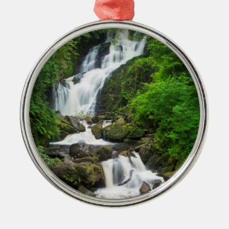 Torc waterfall scenic, Ireland Silver-Colored Round Ornament
