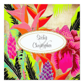 Torch Ginger+heliconia/Luau Wedding Card