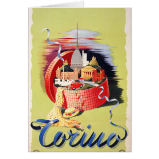Torino Turin Italy Vintage Travel Poster Restored Card