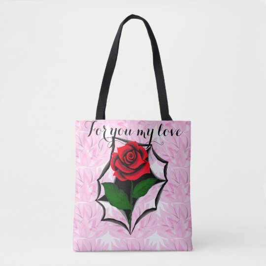 Torn art red rose tote Bag by virtue of fashion