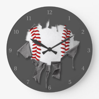 Torn Baseball Large Clock