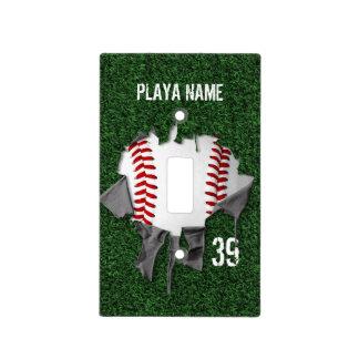 Torn Baseball Light Switch Cover