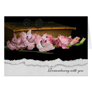 torn edge gladiola with vintage Bible for sympathy Card