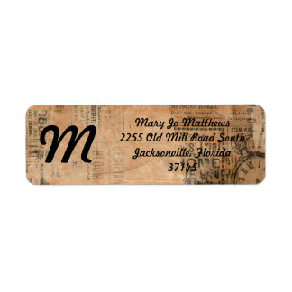 Torn Grungy Old Newspaper Background Return Address Label