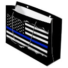 Torn Out Look Thin Blue Line American Flag Black Large Gift Bag