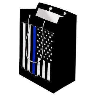Torn Out Police Thin Blue Line American Flag Medium Gift Bag