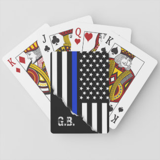 Torn Out Thin Blue Line USA Flag Custom Initials Playing Cards