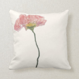 Torn paper collage watercolor flower throw pillow