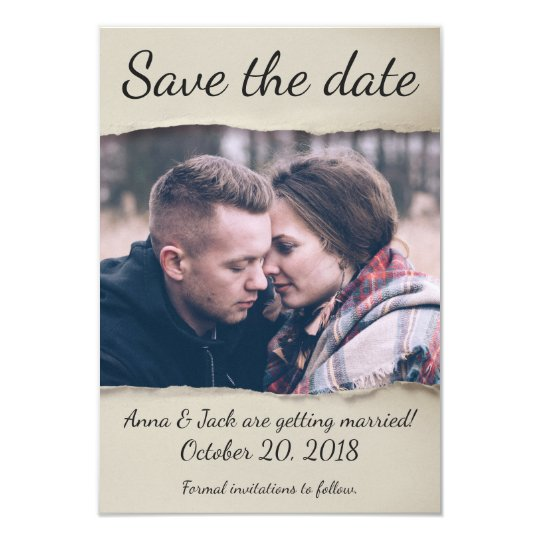 Torn Paper Save the Date! Card