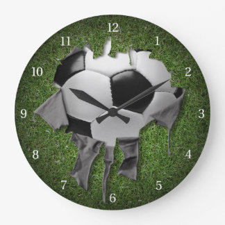 Torn Soccer Dark Wall Clock