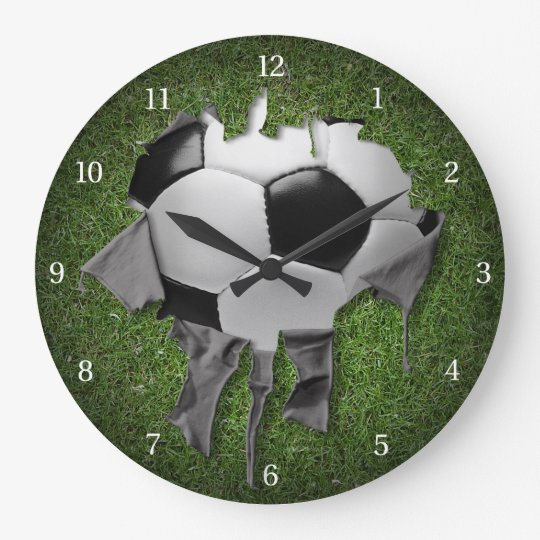 Torn Soccer Dark Wall Clock